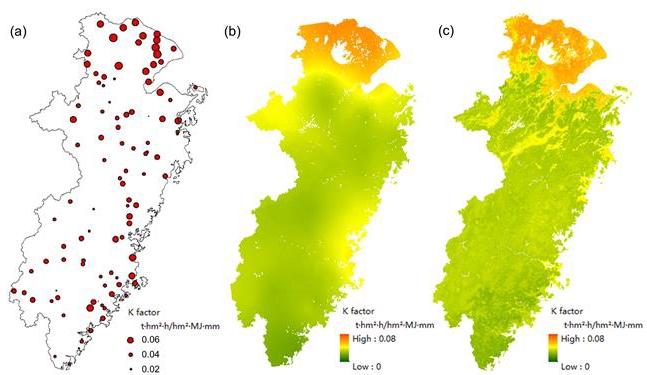 图1 土壤可蚀性K值在太湖流域片 (a) 样点分布,(b) 克里格插值,以及 (c) 随机森林模型预测图